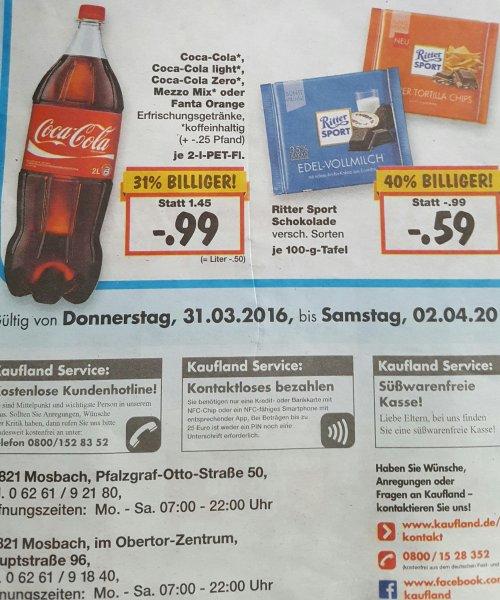 Kaufland Mosbach Aktion Ritter Sport, Coca Cola, Kiwi
