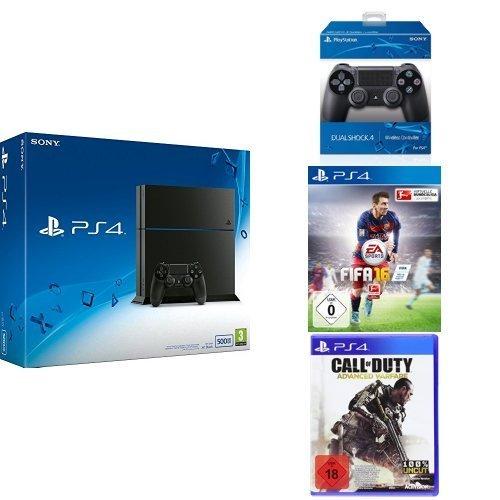 PlayStation 4 - Konsole (500GB, schwarz) [CUH-1216A] + 2 DualShock 4 Controller + FIFA 16 - Standard Edition + Call of Duty: Advanced Warfare
