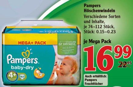 [WETZLAR] Globus Dutenhofen: Pampers Mega+ Pack 74-112 Windeln (= 0,12€/Windel Größe 3) für 13,99€ (Angebot+Coupon)