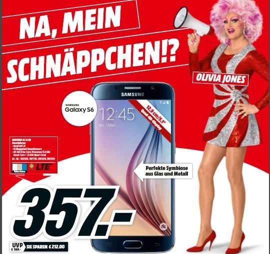"[Lokal Mediamärkte Hamburg] Samsung Galaxy S6 G920F ""Alle Farben"" 32GB [12,?95cm (5.1"") QuadHD Super AMOLED Display, 2.1 Ghz OctaCore-CPU, 16MP Kamera] für 357,-€ Bestpreis"