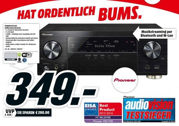 [Lokal Mediamärkte Hamburg ] Pioneer VSX-930-K 7.2 Netzwerk-Mehrkanal Receiver (165 Watt Pro Kanal, Dolby Atmos, Wireless Lan, Bluetooth, Ultra-HD Video Scaler, HDCP 2.2, App Steuerung, Airplay, DLNA, Spotify Connect) schwarz für 349,-€
