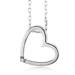 Miore Damen-Halskette AMAZON Herz 925 Sterling EUR 30,77 / 73%Reduziert Silber 1 Brillant 0.01ct farblos 45 cm MSL001N