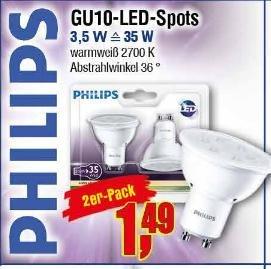 [Center Shop ab 04.04.] 2 Philips GU10 LED-Spots warmweiß 2700k, 250 Lumen, ersetzen 35W, EK A+ für 1,49 € (81 % Ersparnis im PVG)