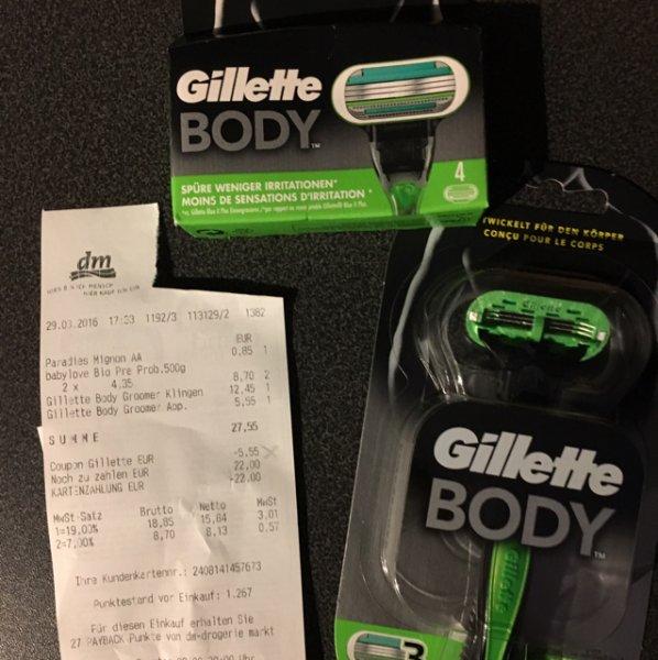 dm: Gilette Body Klingen kaufen - Rasierer gratis