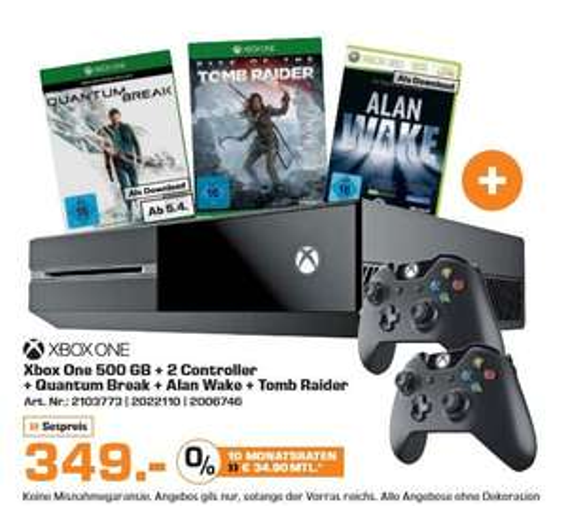 [Saturn] XBox One (500GB) + 2. Controller + Quantum Break (DL) + Rise of the Tomb Raider (Disc) + Alan Wake (DL) für 349,-€