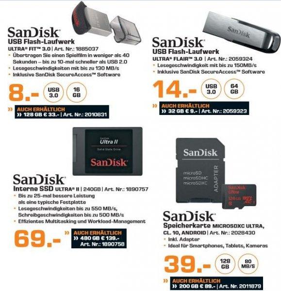 [Saturn] Sammeldeal Speicherangebote. Zb....Sandisk Ultra Fit USB 128GB für 28,-€ oder SanDisk Ultra Micro SD 200GB für 84,-€