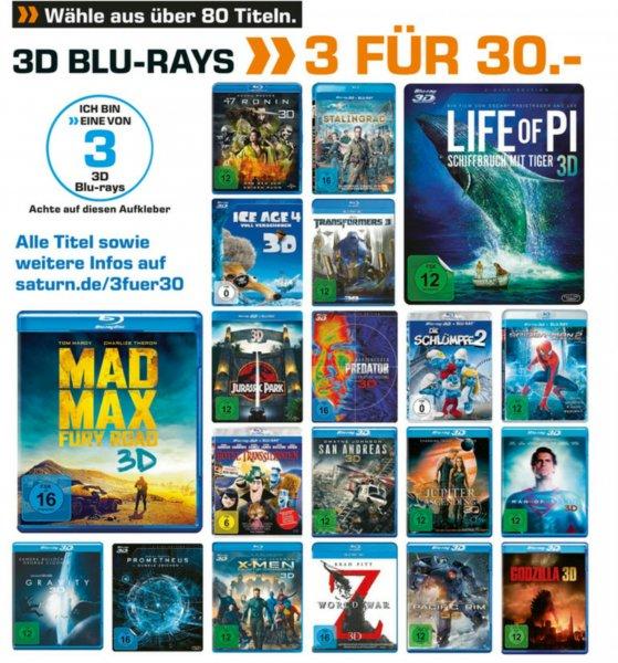 Saturn.de 3D Filme 3 Stück für 30 €