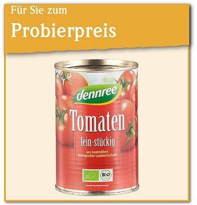 denree Bio-Tomaten fein stückig 400g für 60cent Probierpreis