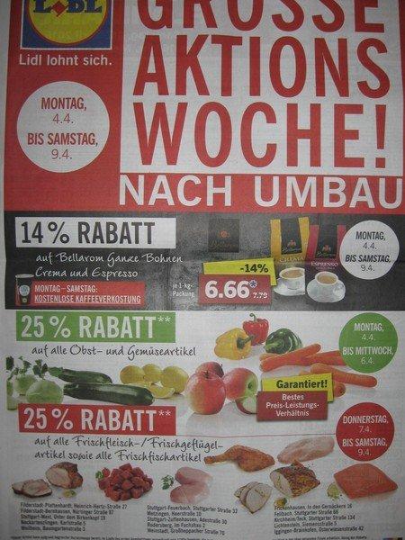 Lokal: Großraum Stuttgart / RT : Lidl 25% auf Obst,Gemüse, Frischfleisch/geflügel/fisch