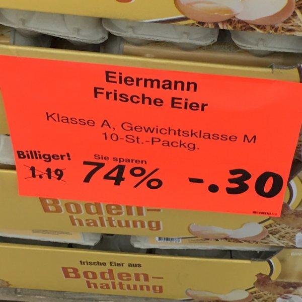 Eiermann 10 frische Eier Klasse A 0,30€ [Lokal Kaufland Vogelsdorf]