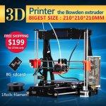 [Aliexpress] 3D-Drucker Bausatz Reprap Prusa i3 Design mit 1 Rolle Filament für 176,81 bei Kauf über Handy App!