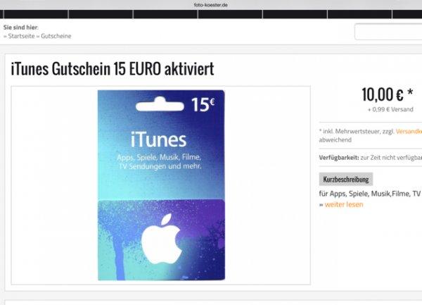 itunes Karte 15 Euro Guthaben für 10,99 Euro