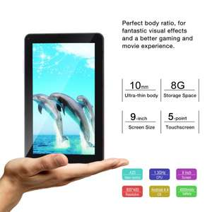 9 Zoll Tablet, 1,3 GHz Quadcore, 512 MB RAM, OTG, laut idealo 59,99€