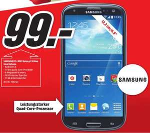 "[Lokal Mediamarkt Bruchsal] Samsung Galaxy S3 Neo GT-I930I schwarz 16GB [12,?19cm (4,8"") HD Super AMO­LED, 1,4 GHz Quad-Co­re Pro­zes­sor] für 99,-€"