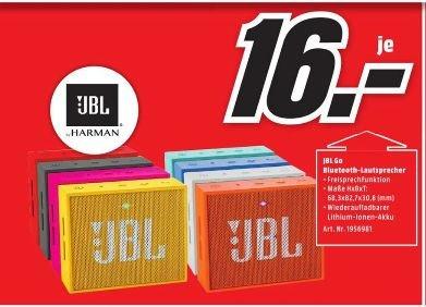 [Lokal Mediamarkt Bruchsal] JBL GO (Alle Farben) - Tragbarer Bluetooth Mini-Lautsprecher (3W, Bluetooth 4.1, 5 Std. Akku) für je 16,-€