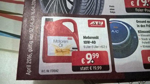 5l Motoröl 10w40 ab Samstag für 9,99€ bei ATU, Bundesweit