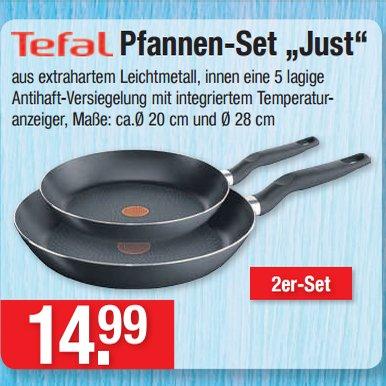 """[V-MARKT] Kratzfestes Tefal Pfannen-Set """"Just"""" 20+28cm für nur 14,99€"""