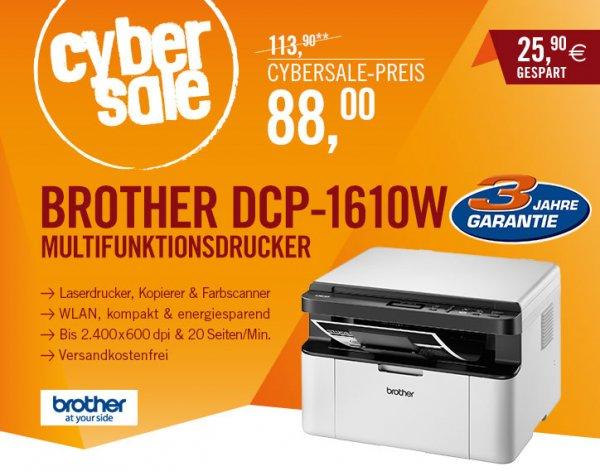 [Cyberport] Cybersale: Brother DCP-1610W S/W-Laser-Multifunktionsdrucker für 88€ - Scanner Kopierer WLAN