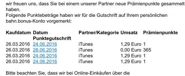 365 Bahnbonuspunkte auch für den iTunes Einkauf