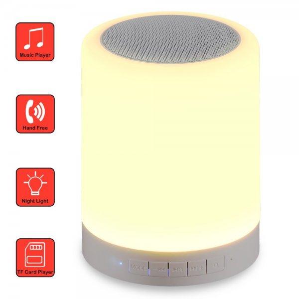 @AMAZON GRDE® Neueste Intelligente Drahlose Bluetooth Lautsprecher mit LED Licht, 3 Licht Modus (dunkle, mittlere ,hell), Berührungsempfindliche Steuerung, Unterstützt SD Kartenur 21,69 anstatt 30,99