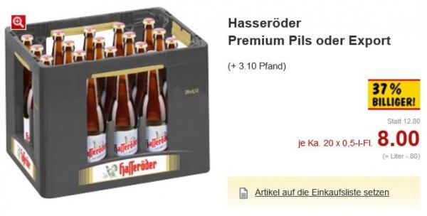 [Kaufland] Hasseröder Premium Pils oder Export für 40 ct/Flasche (80 ct/Liter) in 11er- oder 20er-Kiste oder einzelne Flaschen