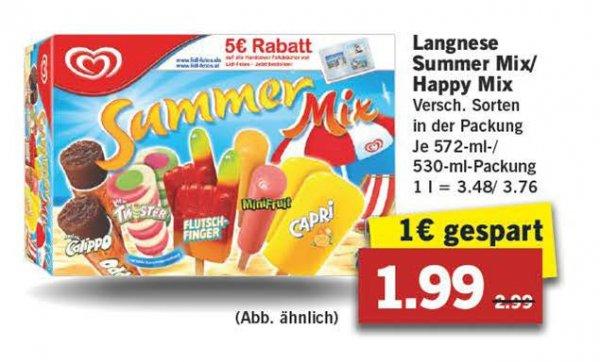 Langnese Summer Mix/Happy Mix (Calippo, Twister, Flutschfinger und viele andere Sorten) für 1,99€ statt 2,99 bei Lidl ab 4.4.2016