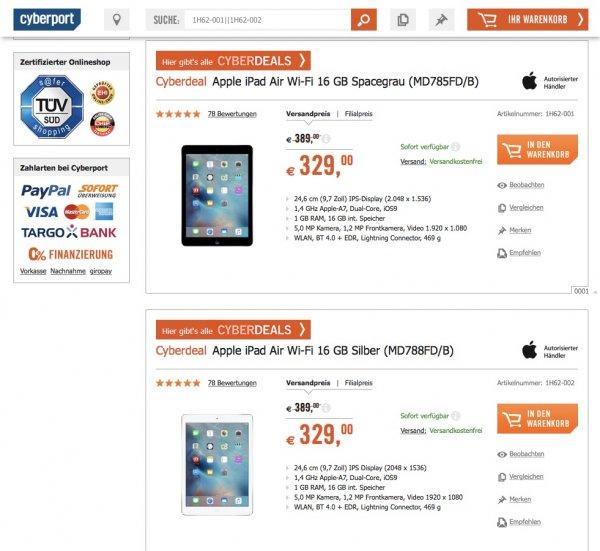 iPad Air 16GB WiFi Cyberdeal 329,-