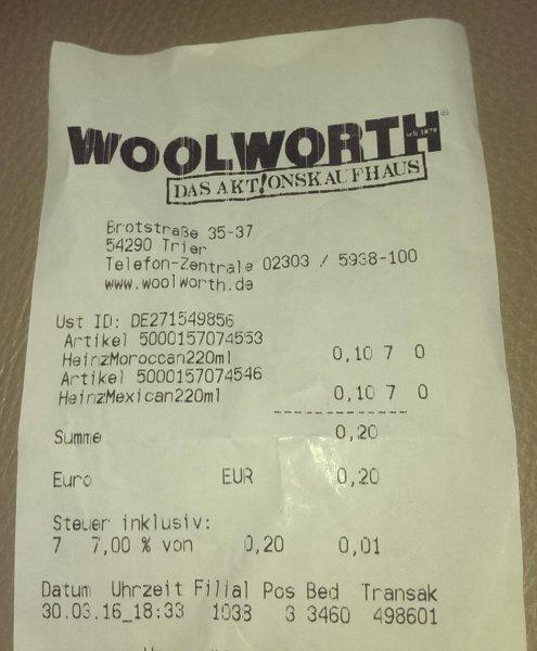 [Lokal Trier?] Woolworth versch. Heinz Saucen 0,10€ 220ml