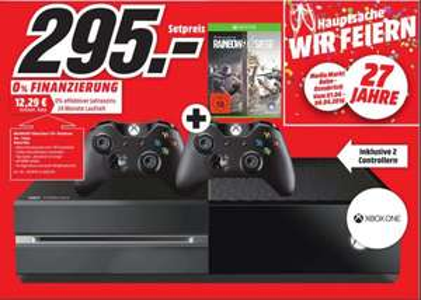 [Lokal Mediamarkt Osnabrück-Belm] Microsoft Xbox One 1TB Spielekonsole inkl. Rainbow Six Siege + Vegas 1&2 + 2.Controller für 295,-€