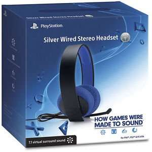 Sony PlayStation 4 Headset Silber 7.1 Virtual Surround Sound / PS4, PS3, PS Vita und auch für PC und Mac @Amazon