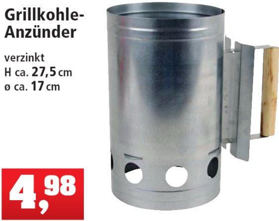 [THOMAS PHILIPPS] KW14: Verzinkter Grillkohle-Anzünder / Anzündkamin mit Holzgriff für 4,98€