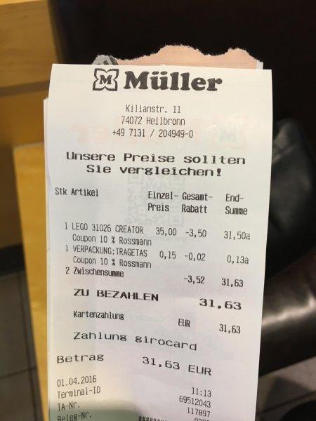 Müller Drogerie Lego Creator 31026 Abverkauf für 35,-€ - 10% Rossmann GS = 31,50€