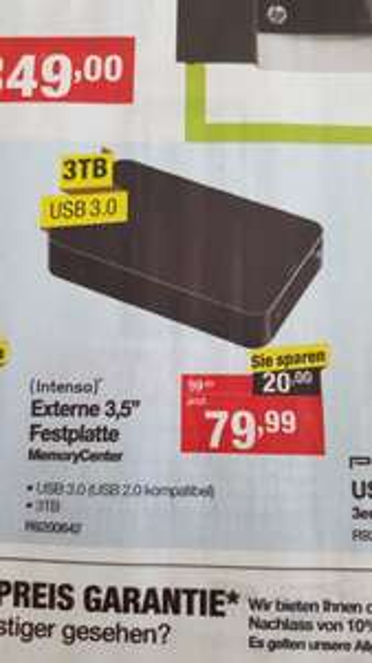 "[Staples] Ab 2.4.16 Intenso Memory Center 3TB USB 3.0 3,5"" HDD"