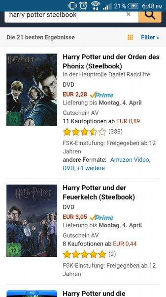 [Amazon Prime] Harry Potter DVD Steelbook ab 2,28 EUR