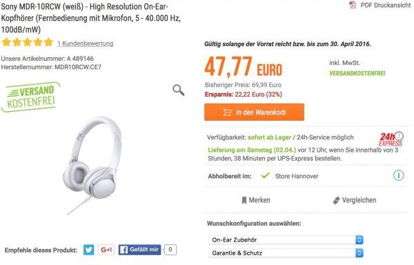 Sony MDR-10RCW (weiß) -  (*Kopfhörer mit Mikrofon, 5 - 40.000 Hz, 100dB/mW)
