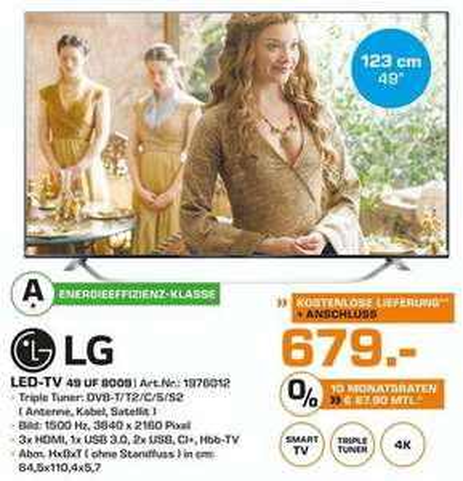 [Saturn Rostock] LG49UF8009 4k Smart-TV für 679€ statt 1099€