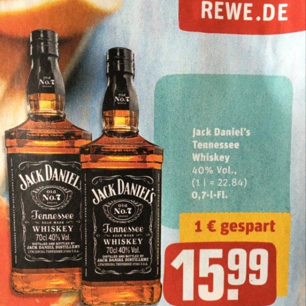 Rewe: Jack Daniel's Whiskey 0,7l für 15,99€
