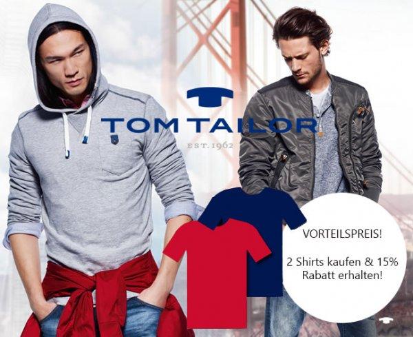 15% Rabatt auf alle Tom Tailor Shirts im Onlineshop Modehaus Fischer