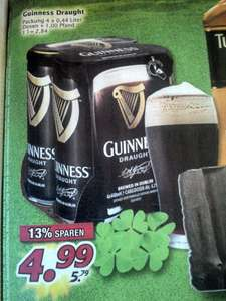 Guinness Draught 4,2%, 4x440 ml Dosen Guinness nur 4,99€ Ab Mo. Marktkauf  (bundesweit?)