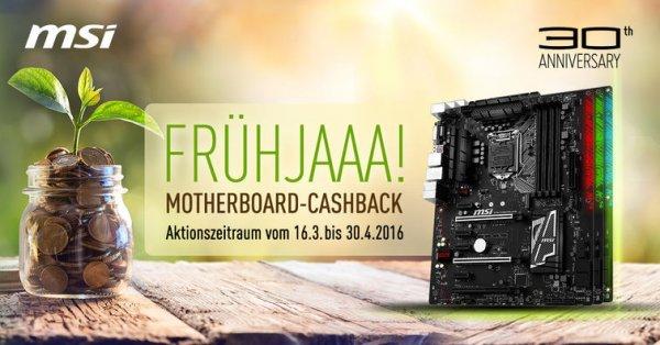 50€ Cashback auf MSI Mainboards bis zum 30.04.16