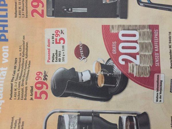 [MAINTAL] Globus: Philips Senseo Viva Cafe HD 7829 für 59,99 Euro (inkl. 200 Gratis Kaffepads)