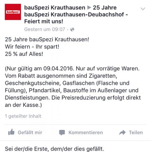 [Bauspezi Krauthausen bei Eisenach] Am 09.04.16 25% auf alles außer .....