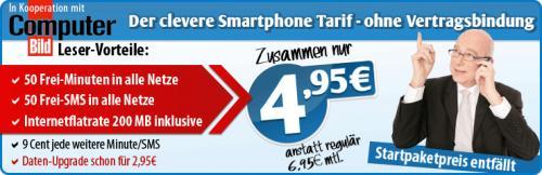 50 Minuten & 50 SMS in alle Netze sowie einer Internet-Flatrate mit 200 MB inklusive DAUERHAFT (!) weitere Minute/SMS nur 9 cent!