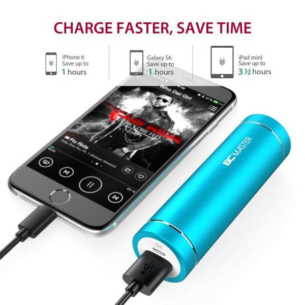 AMAZON = 5000mAh Mini Powerbank für alle Geräte mit USB-Port, 5V/ 1.5A (türkis)