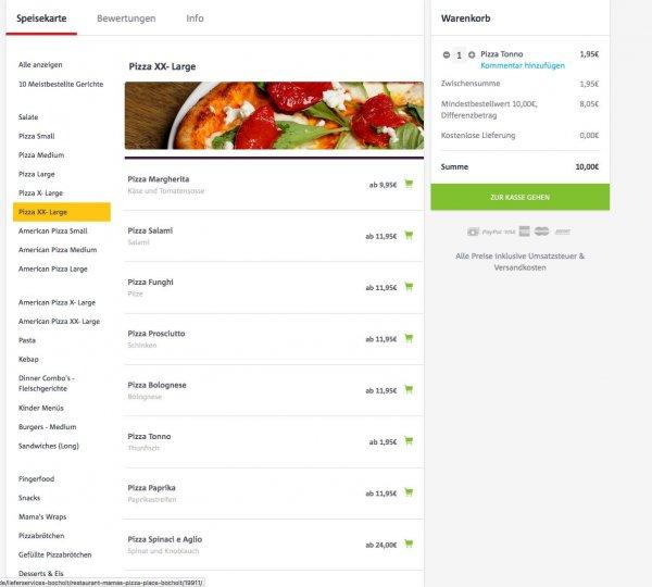 LIEFERHELD > Bocholt > Mamas Pizza Place XX-Large Pizza Tonno 1,95€