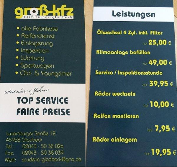 [LOKAL] Gladbeck Räderwechsel 10€ / Ölwechsel inkl. Öl 25€