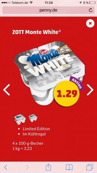 ( Penny) Zott Monte White 4x 100gr Becher Limited Edition 100% Milchcreme