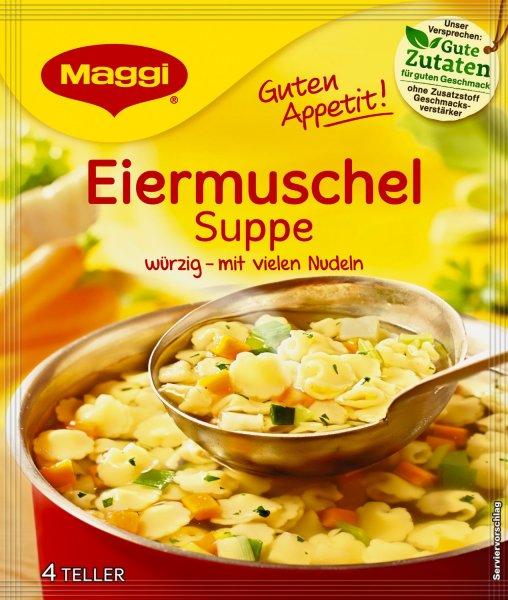 [Amazon] Maggi Guten Appetit Suppe Eiermuschel 4 Teller-Portion (1L), 22er Pack (22 x 51g) für 10,31€ (0,47€/Packung)