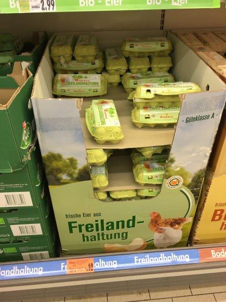 (Lokal) Kaufland Berlin Köpenick 10 frische Eier aus Freilandhaltung für 10 Cent (Güteklasse A, MHD 13.04.16) evtl. Bundesweit?