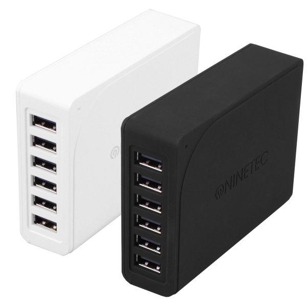 [Ebay Wow] NINETEC 60W 6-Port Multi USB Netzteil schwarz oder weiß für 19,99 € (Idealo ab 29,99 €)